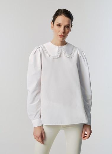 Monamoda Dantel Yaka Poplin Gömlek Beyaz